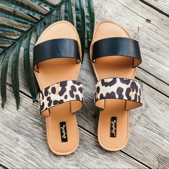 Qupid Shoes | Leopard Black Slide